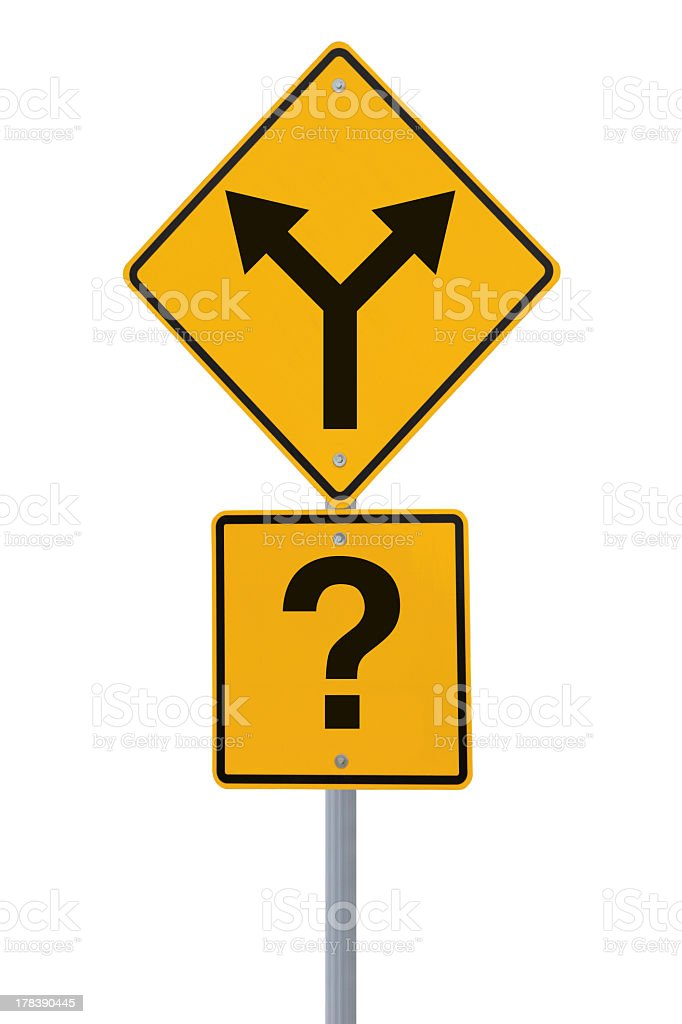 Yellow road sign showing two directions and a question mark royalty-free stock photo