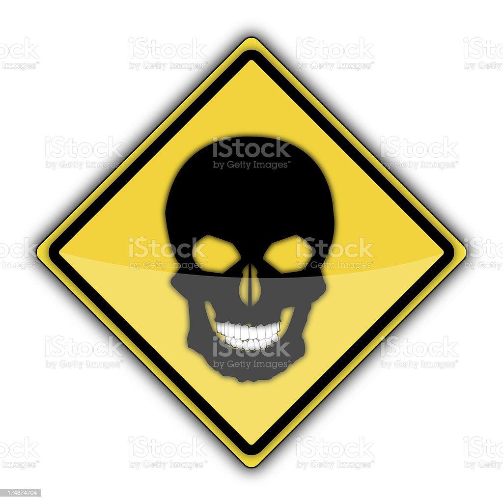 Yellow Road Sign | Skull royalty-free stock photo