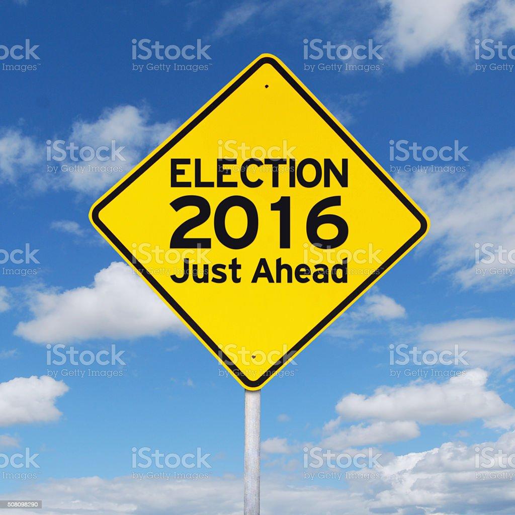 Yellow road sign toward election 2016 stock photo