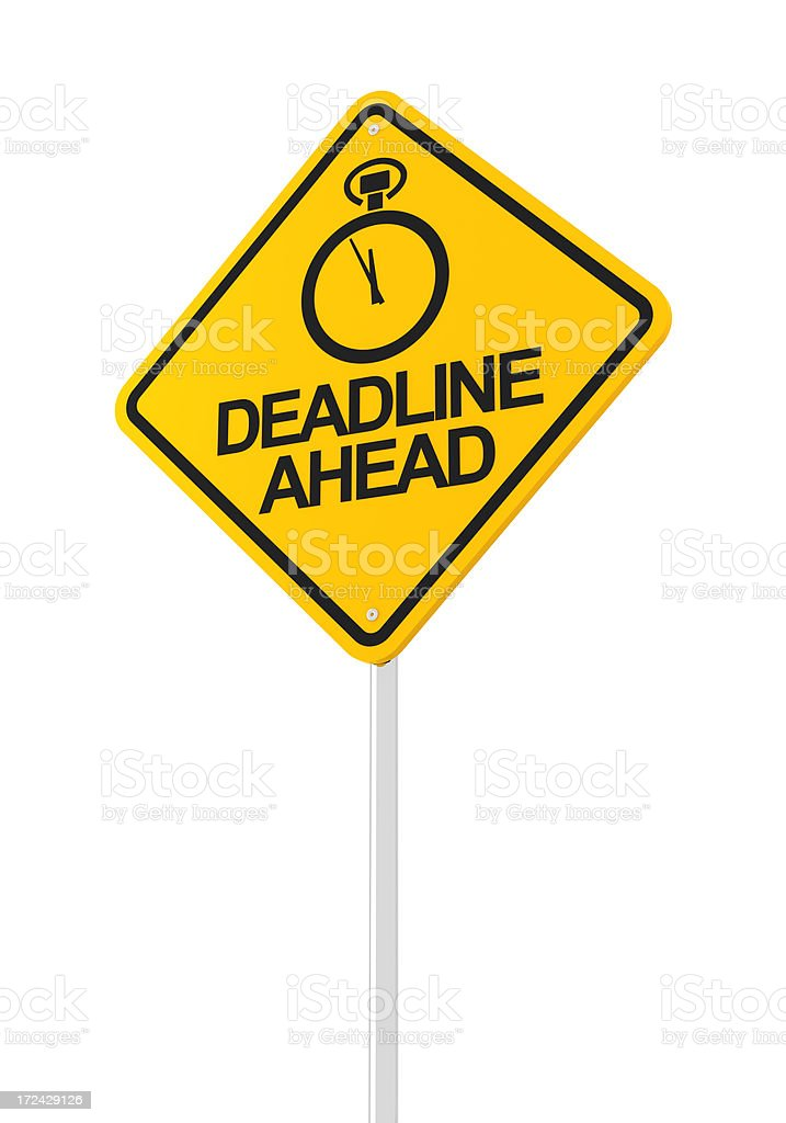 Yellow road sign with stop watch for deadline ahead royalty-free stock photo