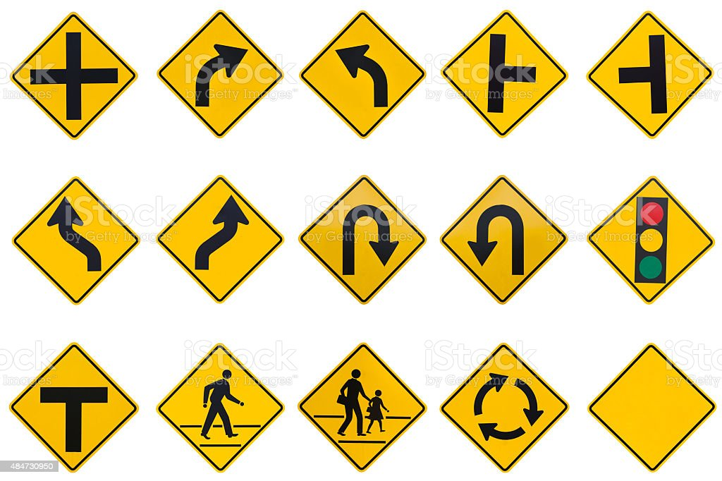 yellow road signs, traffic signs set on white background stock photo
