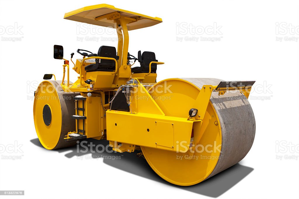 Yellow roller compactor machine stock photo