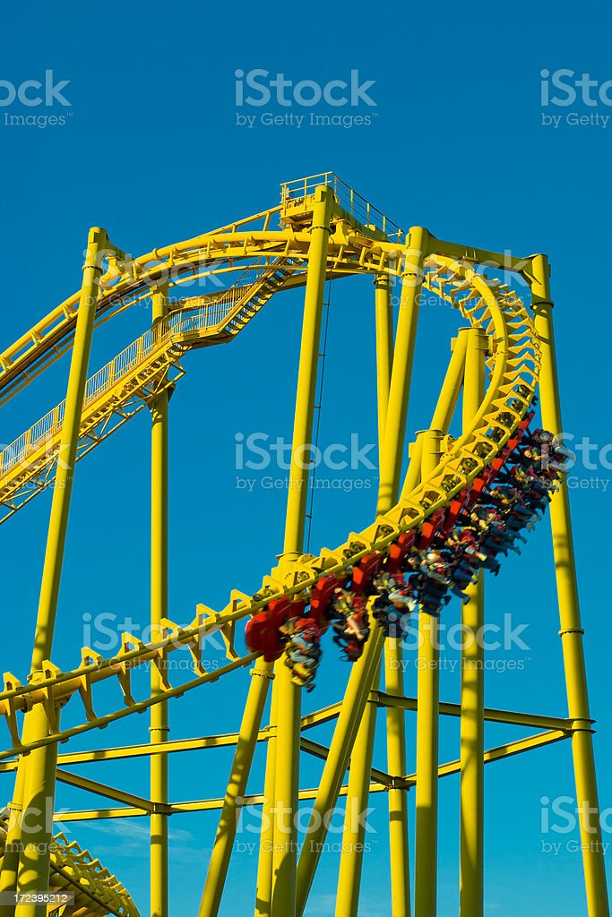 Yellow Rollercoaster 7 royalty-free stock photo