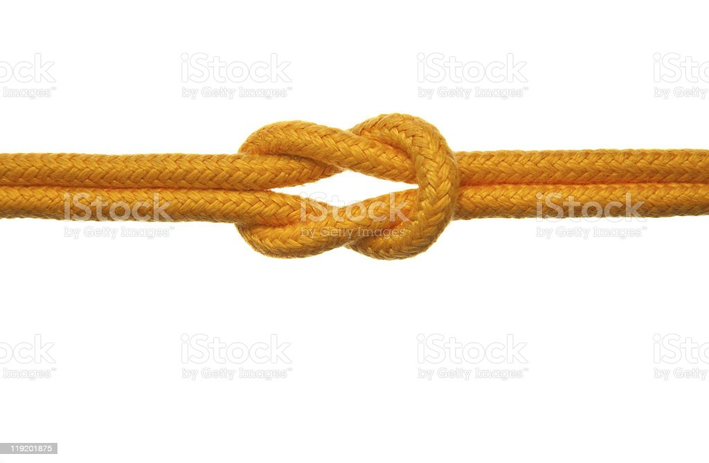 Yellow Rope with Reef Knot stock photo