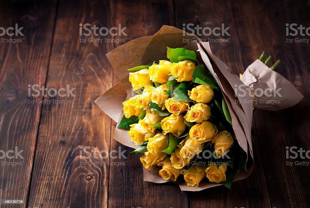 Yellow roses bouquet stock photo