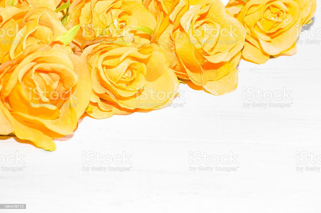 yellow roses flowers on a white wooden background flowers