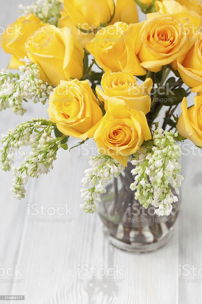 Yellow Roses on a vase royalty-free stock photo