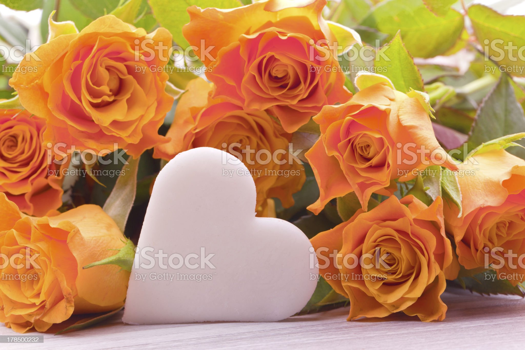 yellow roses with sugar heart royalty-free stock photo