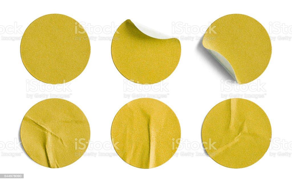 Yellow Round Stickers stock photo