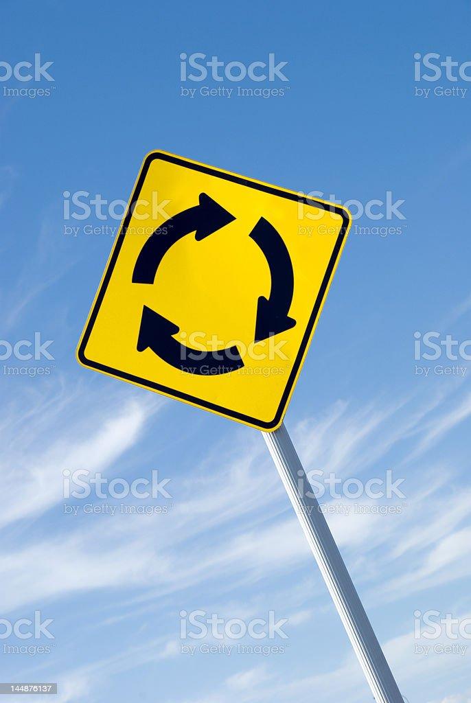 Yellow Roundabout Sign stock photo