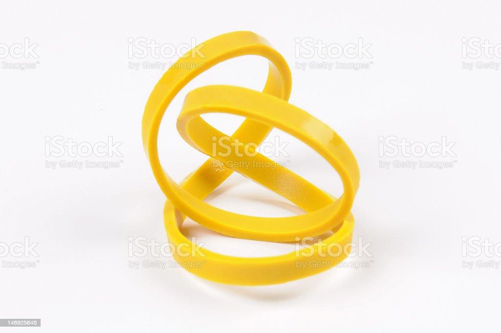 Yellow Rubber Band stock photo