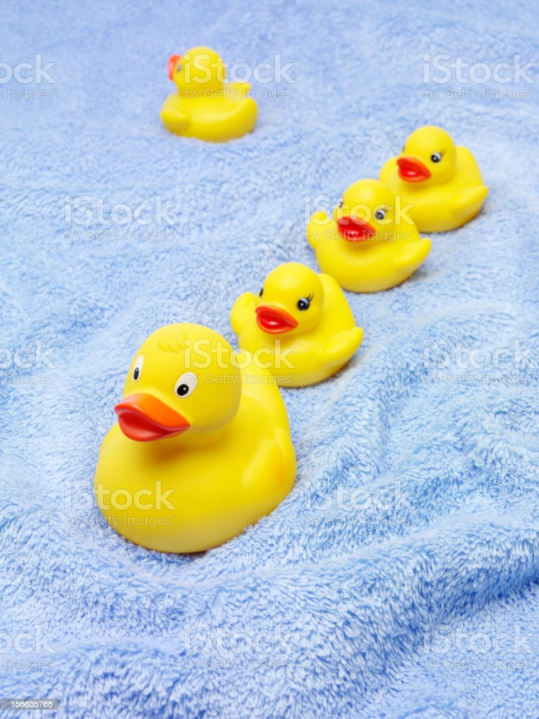 Yellow Rubber Ducks with Towels stock photo