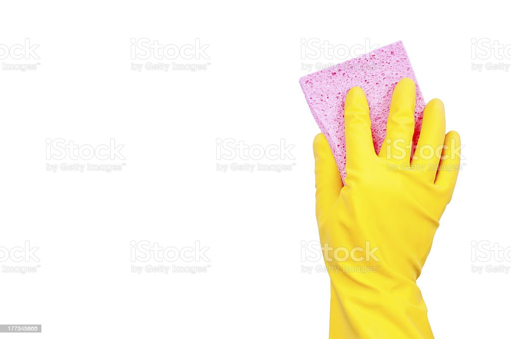 Yellow rubber glove with pink sponge royalty-free stock photo