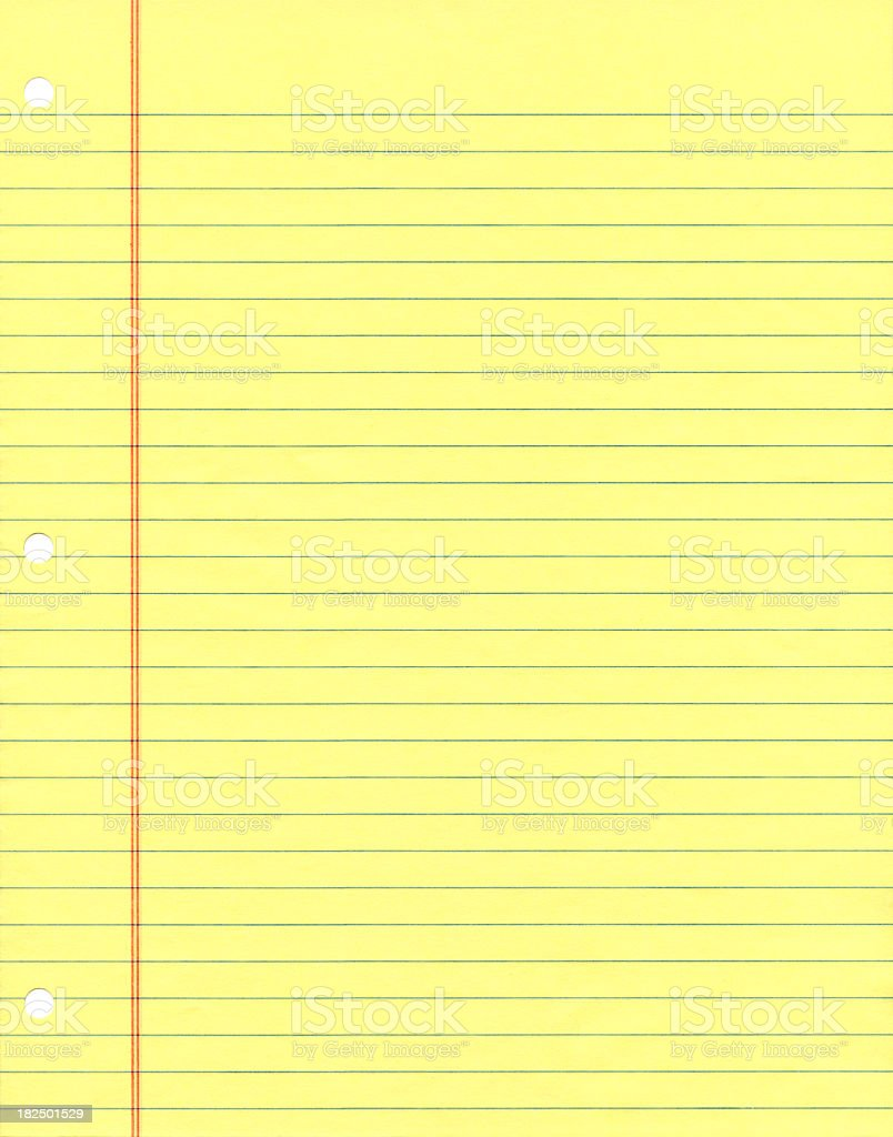Yellow Ruled Notebook Paper stock photo