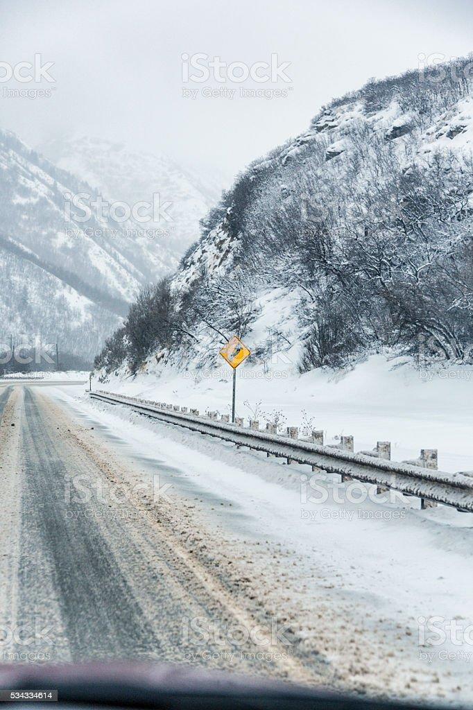 Yellow S Curve Warning Road Sign On Slushy Winter Highway stock photo