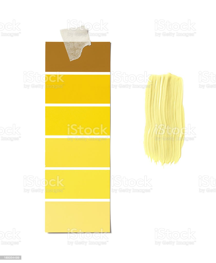 Yellow sample and paint stock photo