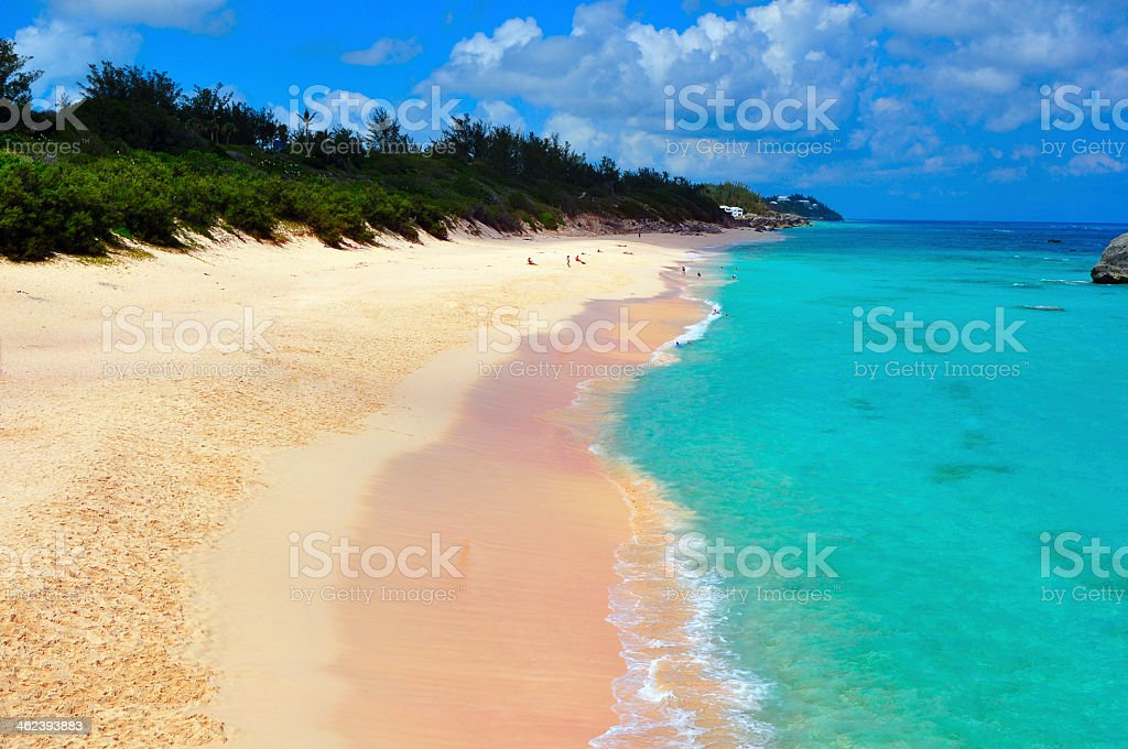 Yellow sand Bermuda beach with aquamarine lagoon stock photo