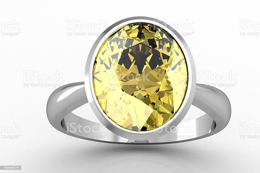 yellow sapphire ring (high resolution 3D image) royalty-free stock photo