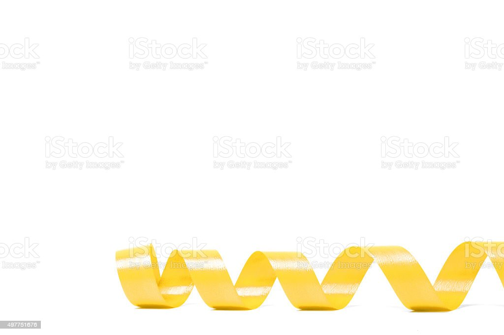 yellow satin ribbon stock photo