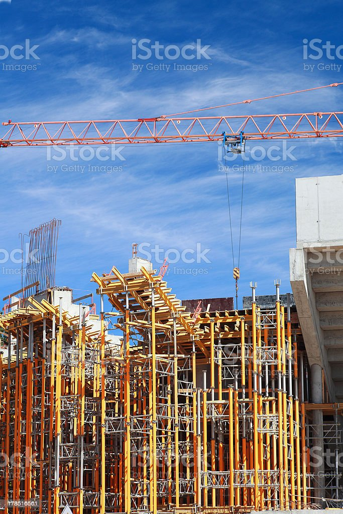 yellow scaffolding royalty-free stock photo