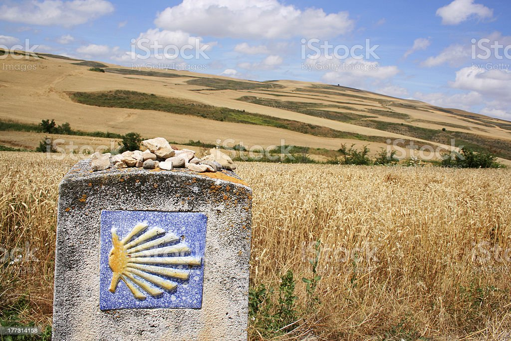 Yellow scallop shell as landmark on the Camino de Santiago stock photo