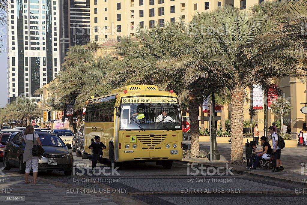 Yellow School Bus in Dubai royalty-free stock photo