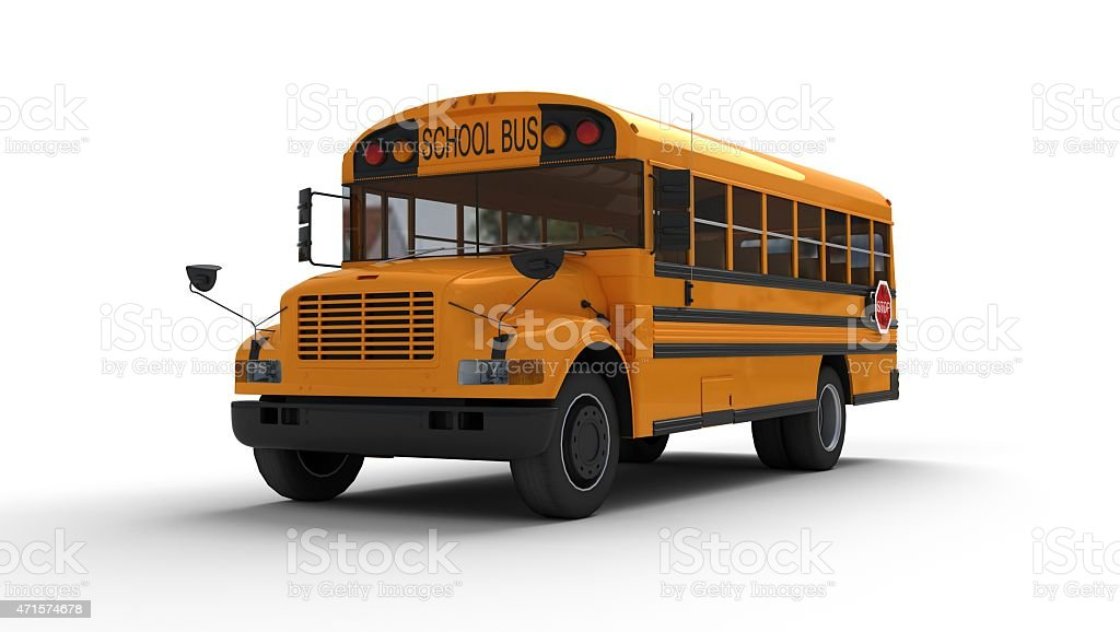 A yellow school bus on a white background stock photo