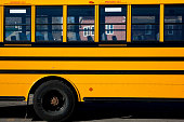 Yellow school bus side view