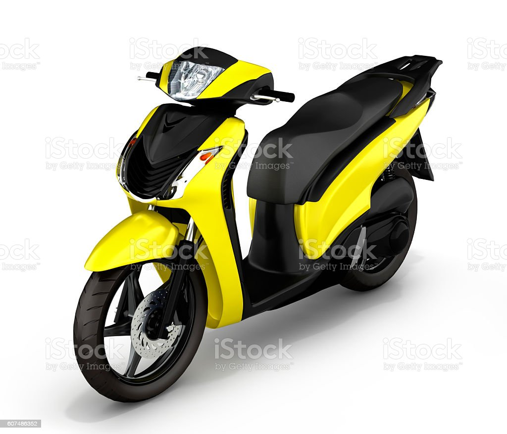 yellow scooter on white background 3d illustration stock photo
