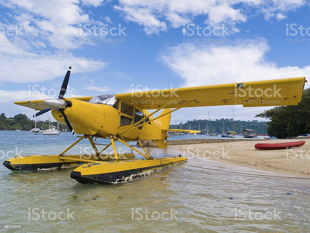Yellow Seaplane, Vanuatu stock photo