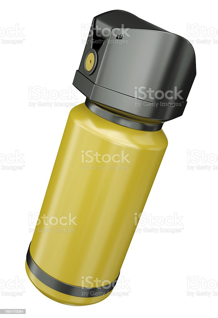 Yellow self-defense pepper spray on a white background stock photo