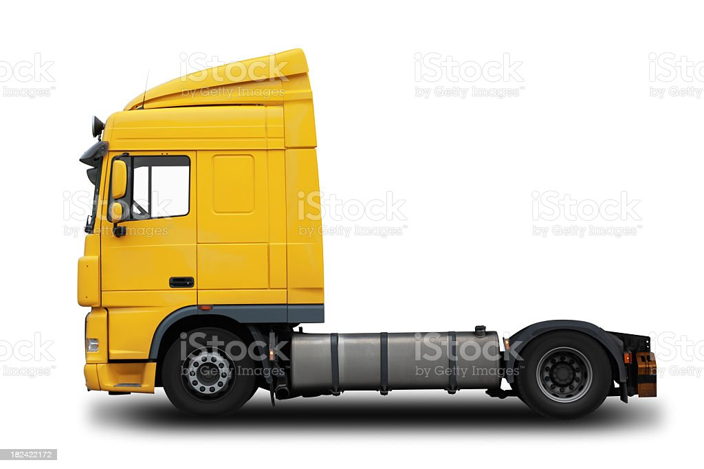 Yellow semi truck with a white background royalty-free stock photo