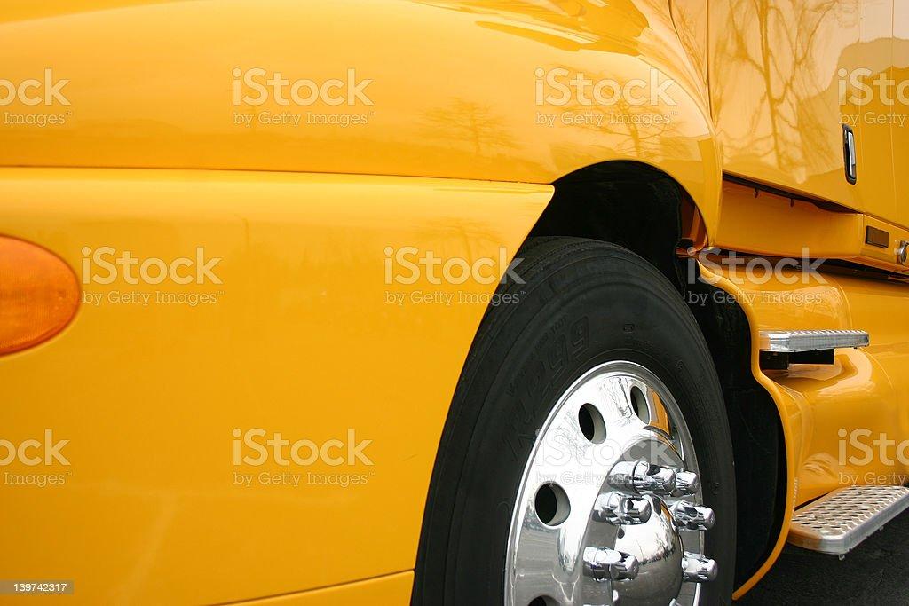Yellow semi-truck stock photo