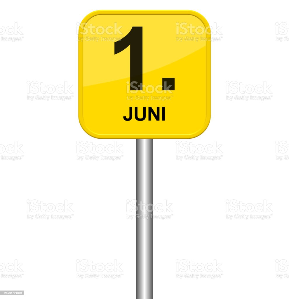 Yellow sign 1st June german stock photo