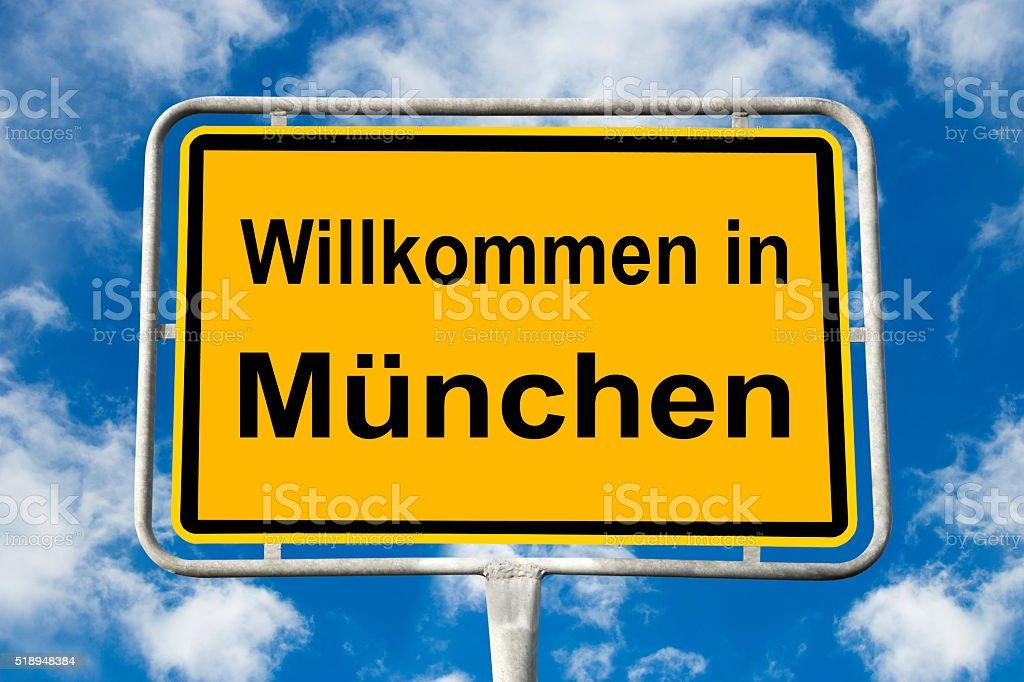 Yellow signpost Munich, Germany stock photo