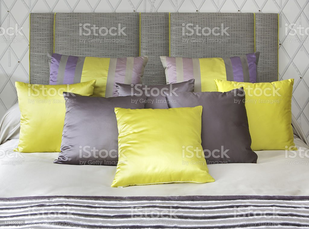 yellow silk cushions royalty-free stock photo