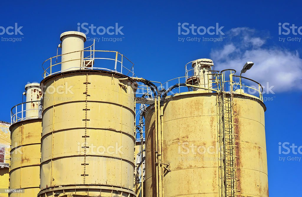Yellow silos royalty-free stock photo