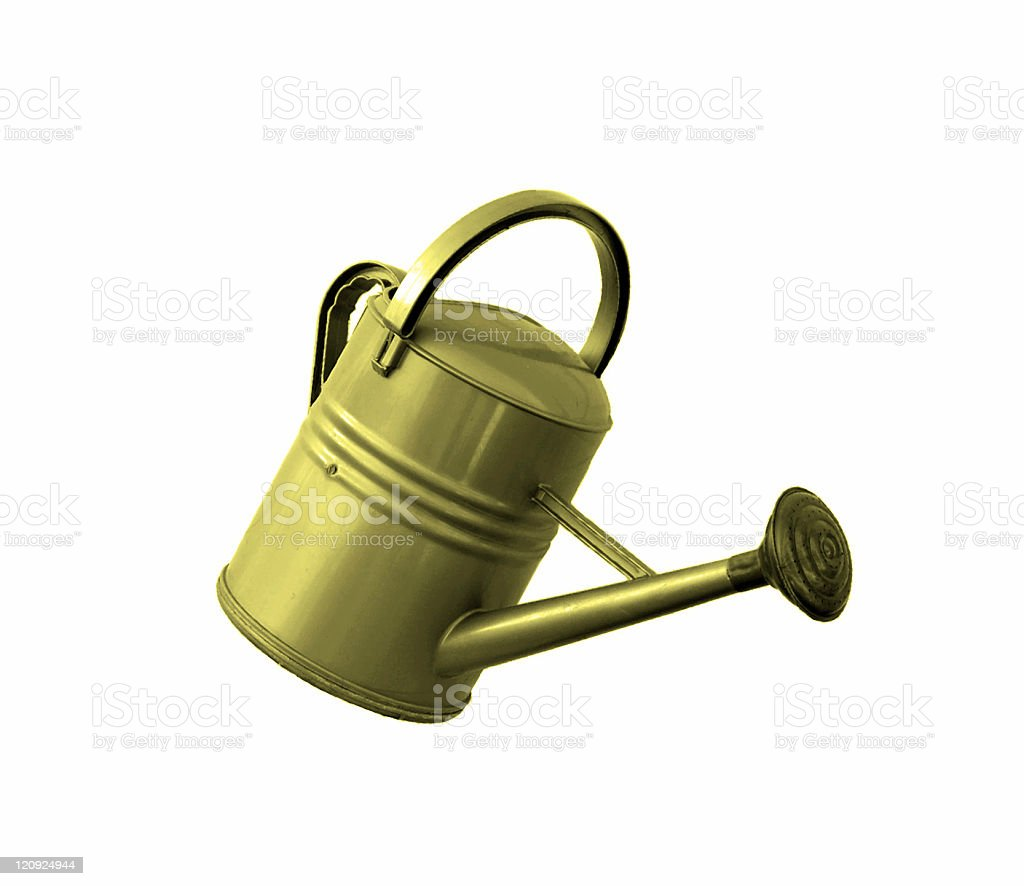 Yellow Slanted Watering Can royalty-free stock photo