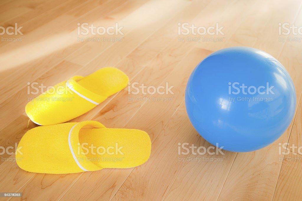 Yellow Slipper Blue Ball stock photo
