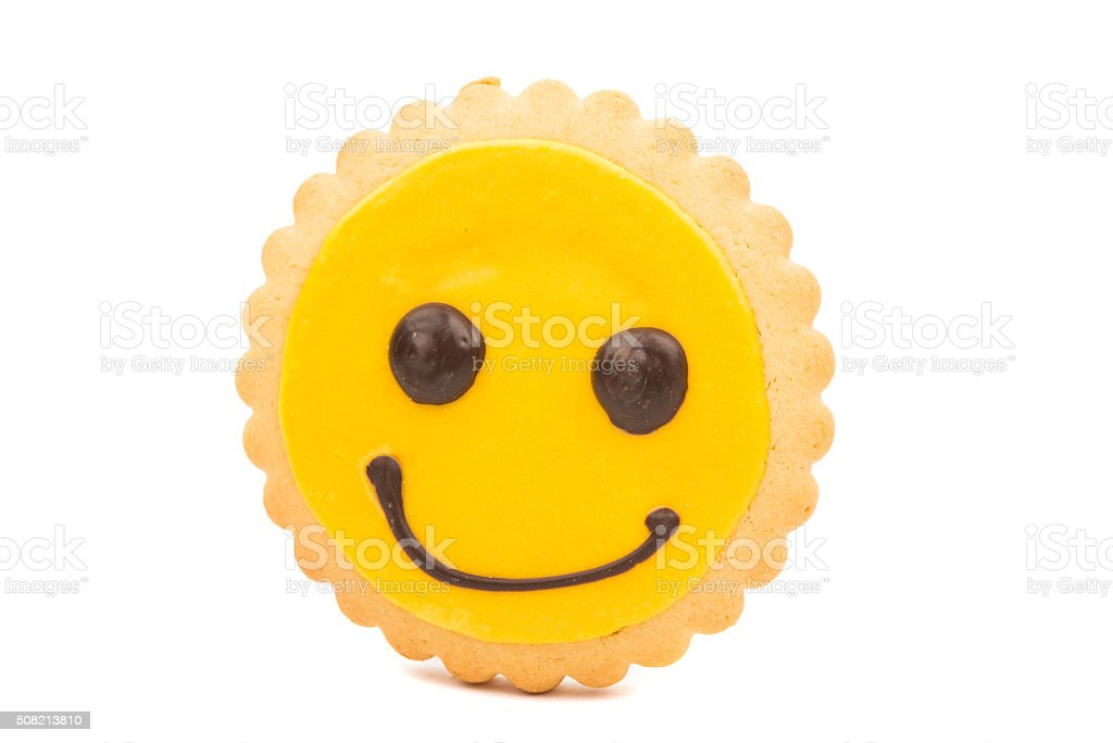 Yellow Smiley biscuit stock photo