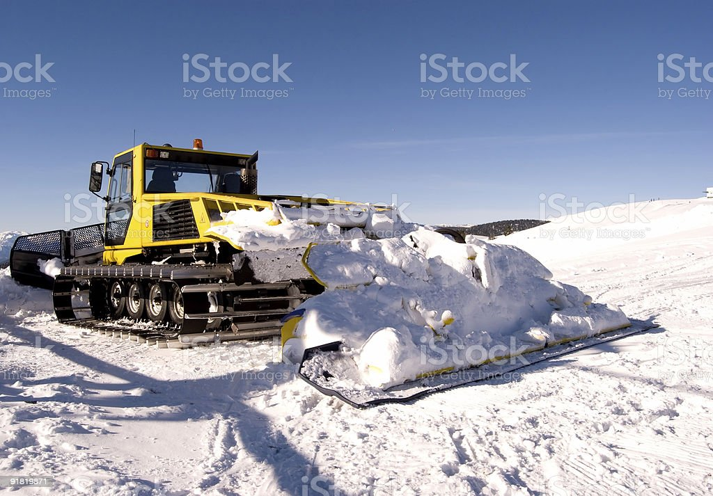 Yellow Snowplow royalty-free stock photo