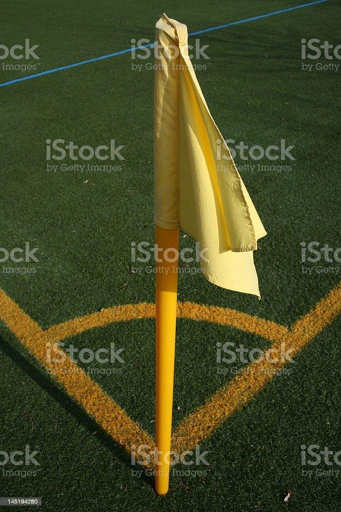 Yellow soccer corner flag royalty-free stock photo