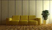 Yellow sofa in living room