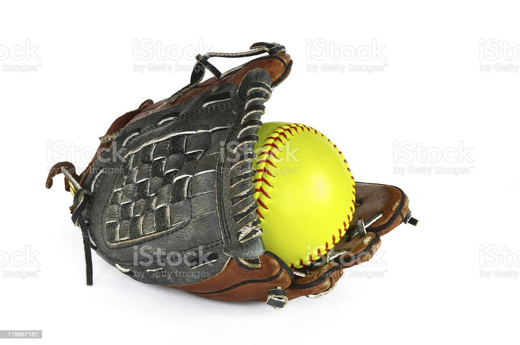 Yellow Softball and Glove stock photo