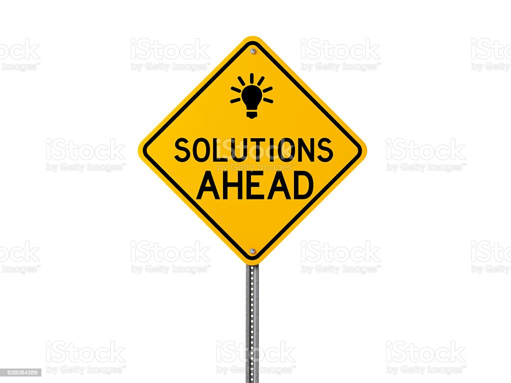 Yellow Solutions Ahead Sign Isolated On White Background stock photo