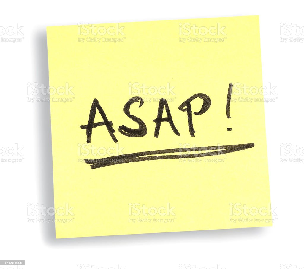 ASAP! yellow soon as possible memo ticket stock photo