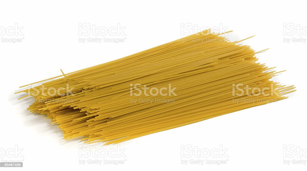 Yellow spaghetti with shadow on white background stock photo
