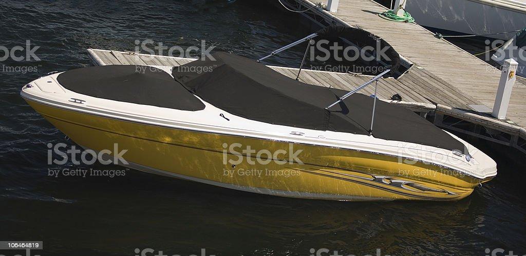 Yellow Speed Boat royalty-free stock photo