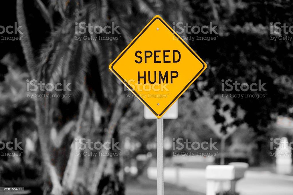 Yellow Speed Hump Sign stock photo