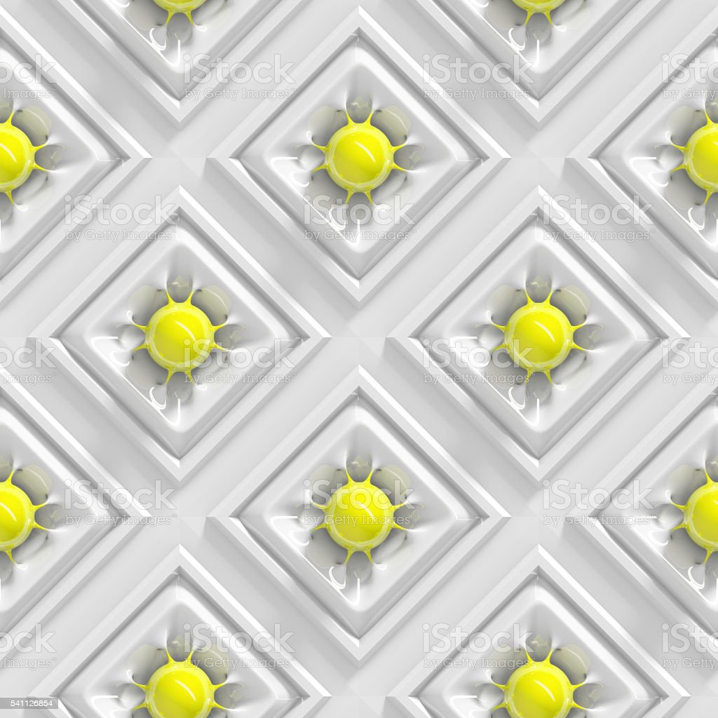 yellow spheres organically connected in white squares (seamless) stock photo